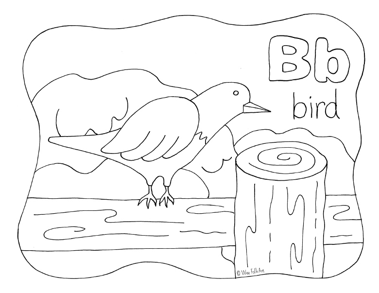 Nature Alphabet Coloring Page Letter B