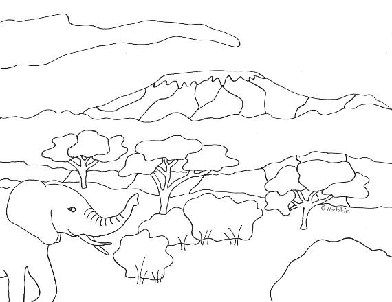 kenya animal coloring pages | Mount Kilimanjaro Coloring Page - Tanzania - Homeschool ...