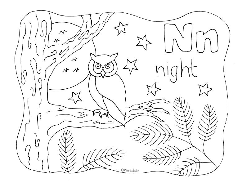 Nature Alphabet Coloring Page Letter N