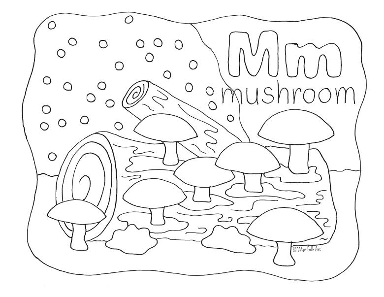 Nature Alphabet Coloring Page Letter M - Homeschool Companion