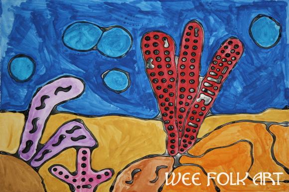 Coral Reef Craft Black Glue Resist Homeschool Companion