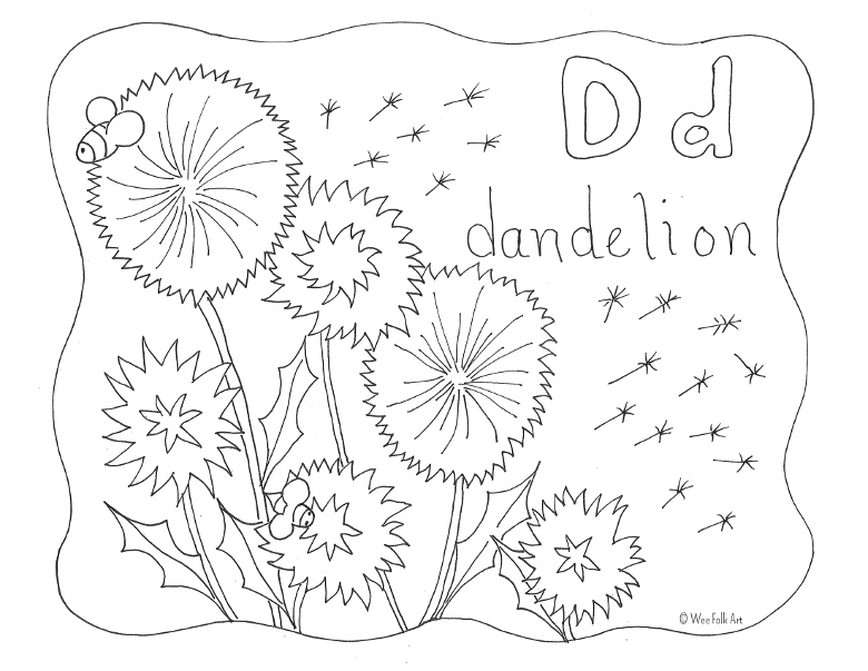 Nature Alphabet Coloring Page Letter D Homeschool Companion