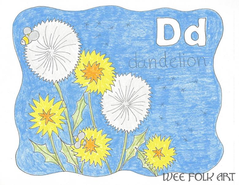 alphabet coloring page letter D