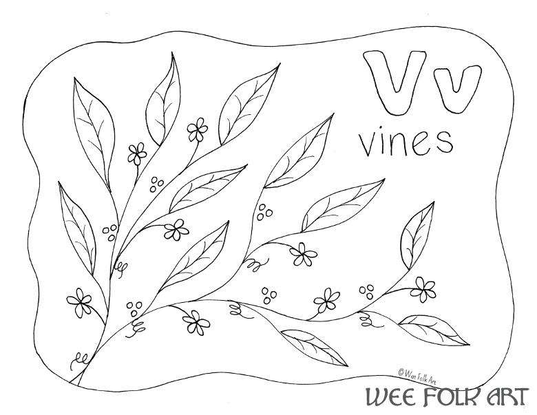 Nature Alphabet Coloring Page Letter V