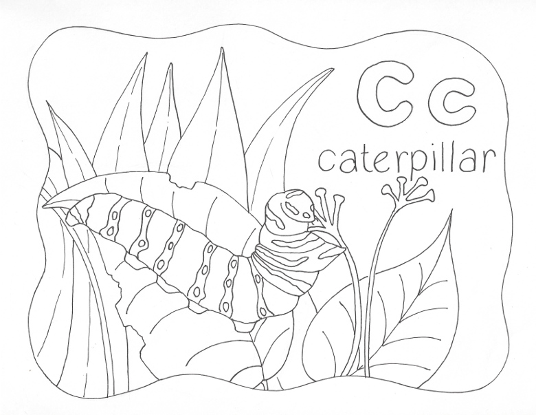 Nature Alphabet Coloring Page Letter C