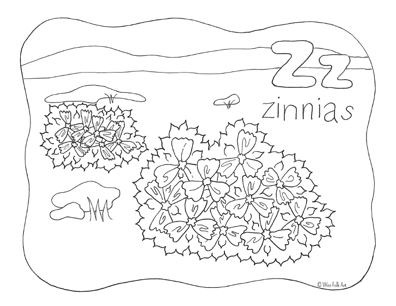 Nature Alphabet Coloring Page Letter Z