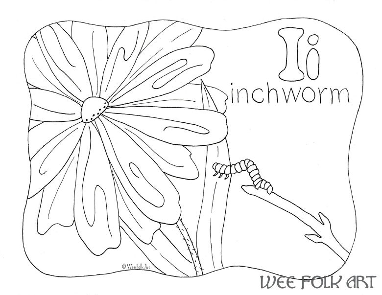 Nature alphabet coloring page letter i homeschool companion for Inchworm coloring page