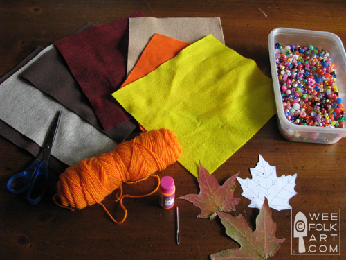 felt leaves fall garland tutorial materials