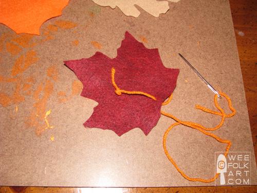 felt leaf garland tutorial