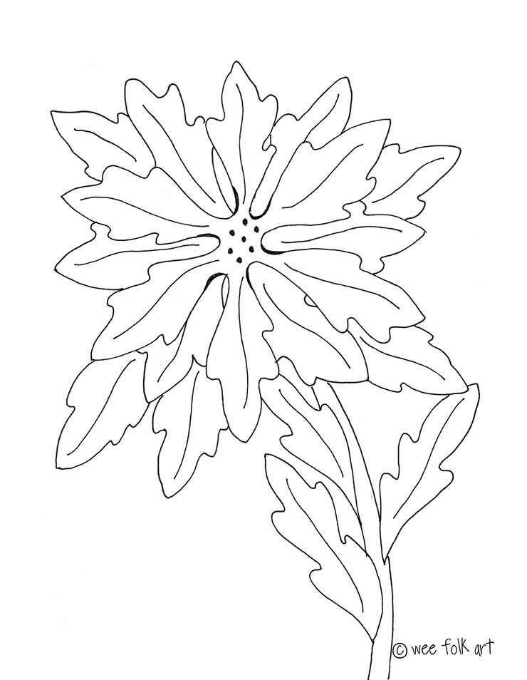 Poinsettia Coloring Page Wee Folk Art