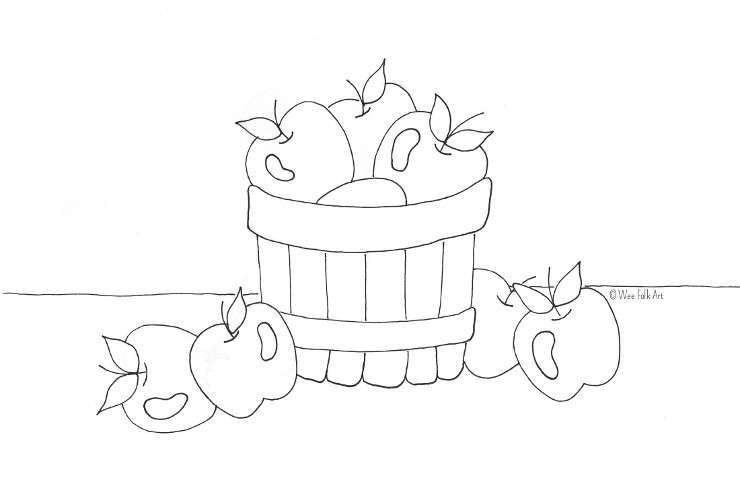 Bushel Of Apples Coloring Page