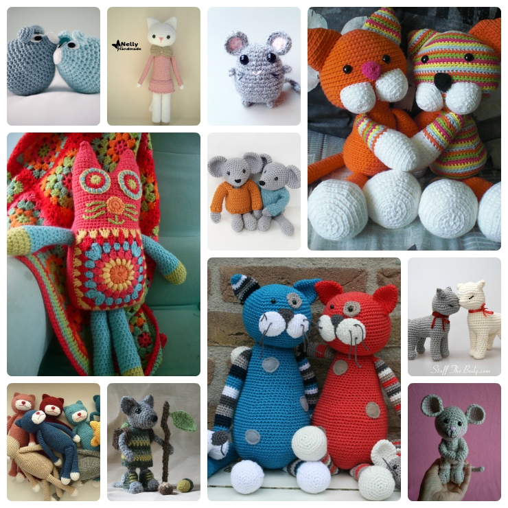 Cat and Mouse Crochet Patterns - Wee Folk Art