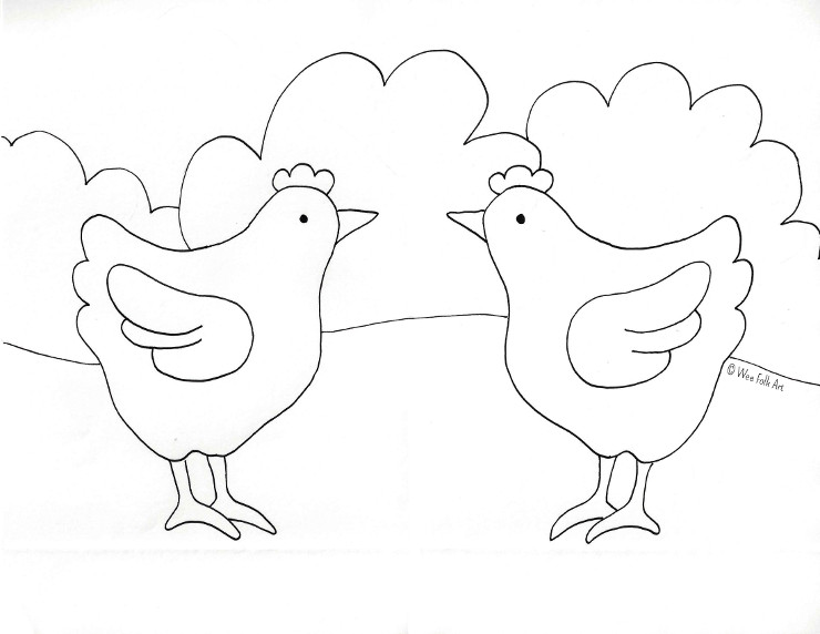 Barnyard Chicken Coloring Page Wee Folk Art Chicken Coloring Page