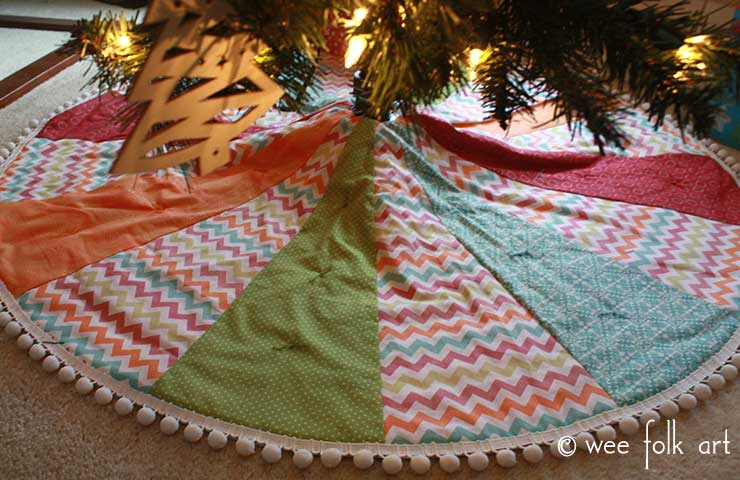 Easy Pom Quilted Tree Skirt