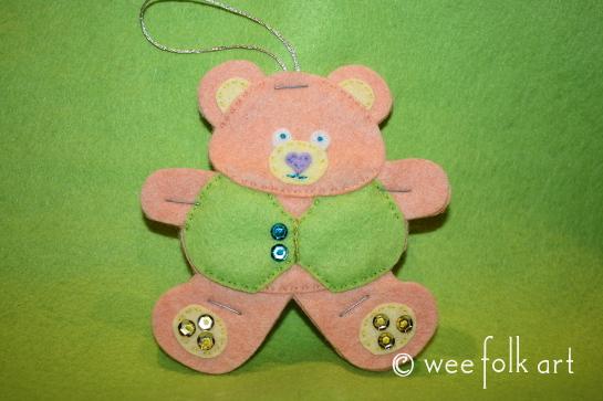 tedd bear ornament - cut pastel 545wm