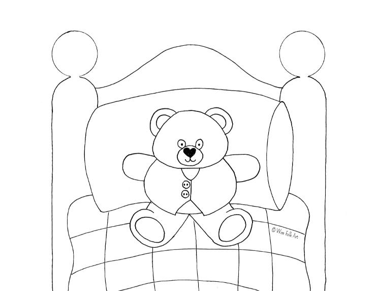Teddy Bear Coloring Page - Wee Folk Art