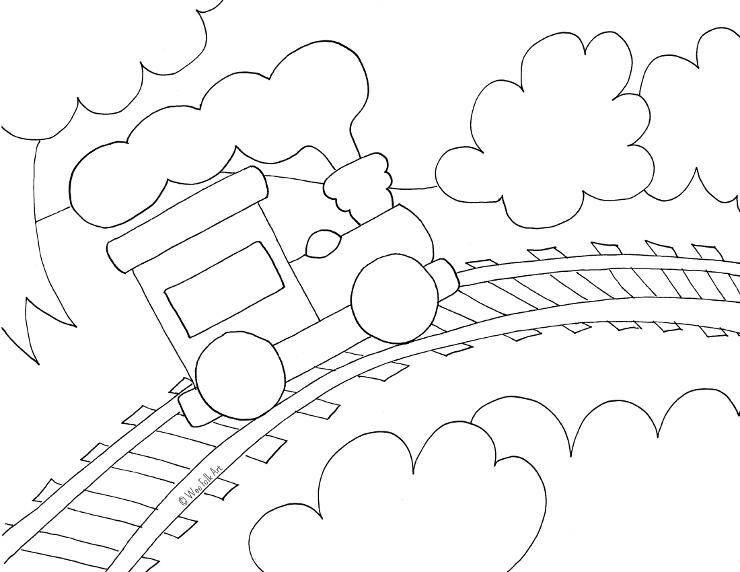 Toy train coloring page wee folk art for Toy train coloring pages