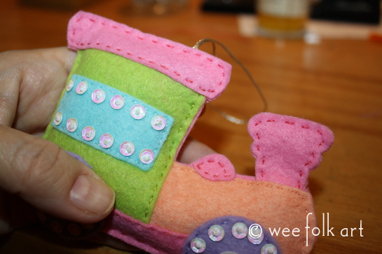 toy train ornament - sew together pastel 545wm