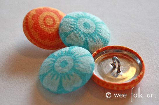 fabric button tutorial finished