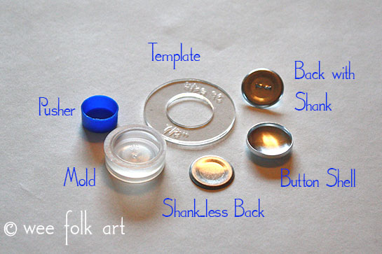 fabric button tutorial kit pieces