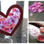 Valentine Craft Tissue Paper Stained Glass Heart
