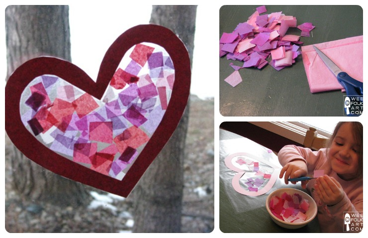 Valentine Craft Tissue Paper Stained Glass Heart Wee Folk Art