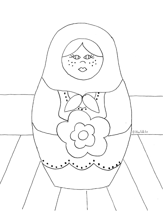 Russian nesting dolls coloring page