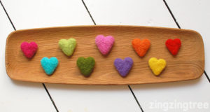valentine craft needle felted hearts