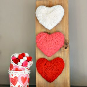 valentine craft ombre yarn wrapped hearts