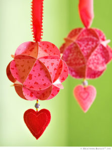 valentine craft paper globe ornaments