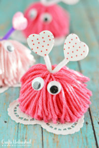 valentine craft pom pom monster