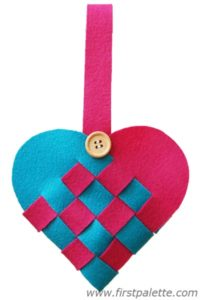 valentine craft woven danish basket heart