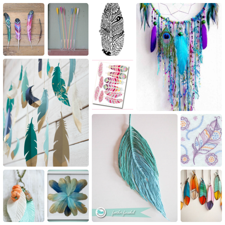 feather crafts Collage
