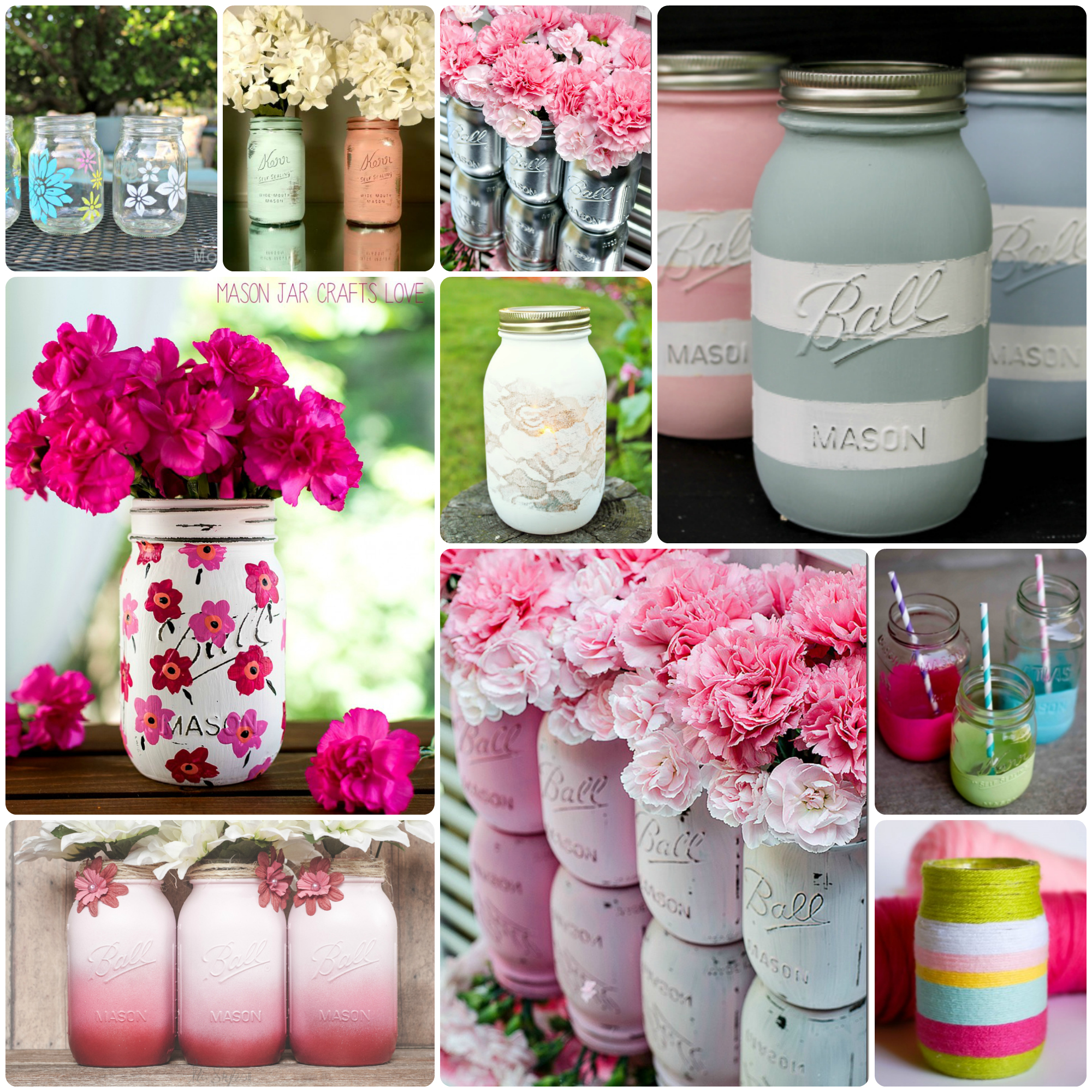painted mason jars Collage