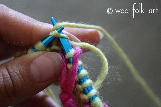 knit butterfly stitch carry yarn 3