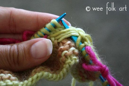 knit butterfly stitch body stitch 1