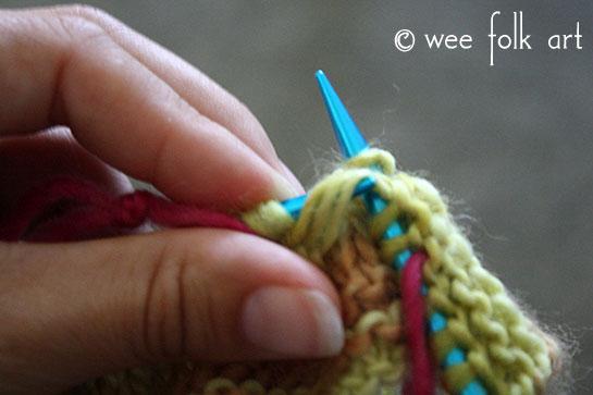 knit butterfly stitch body stitch 3