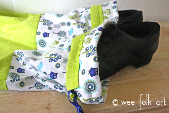 drawstring shoe bag pattern with tap shoes