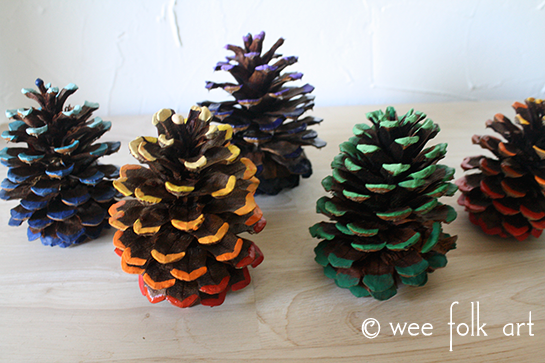 ombre painted pinecones forest