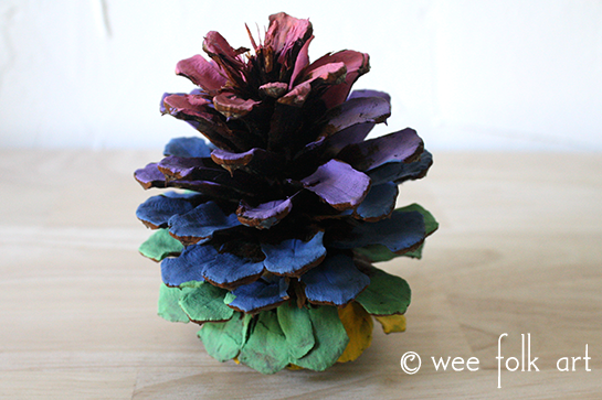 ombre painted pinecones rainbow