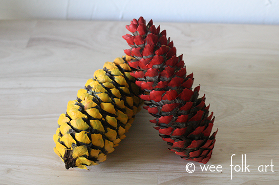 fall colors painted pinecones
