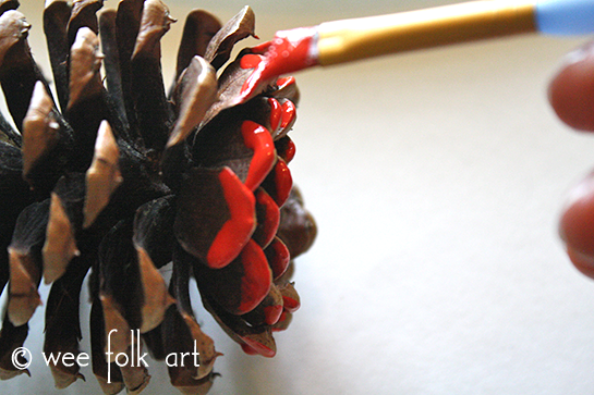 ombre painted pinecones painting