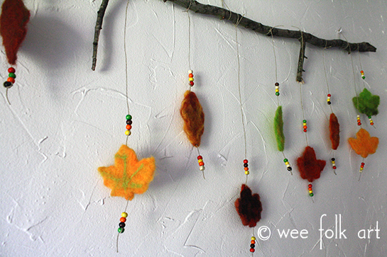 needle felted leaves mobile