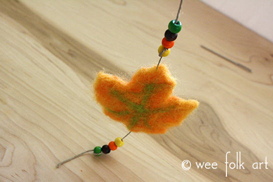needle felted leaf with beads