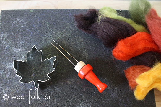 Needle Felted Leaves Fall Craft Materials