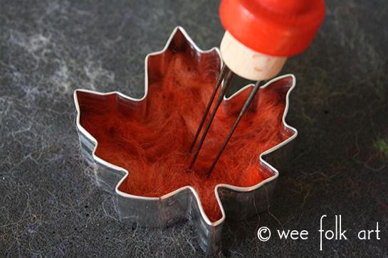 Needle Felted Leaves Fall Craft felting