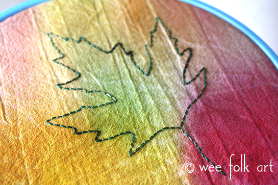 watercolor painted fabric tutorial leaf embroidery pattern