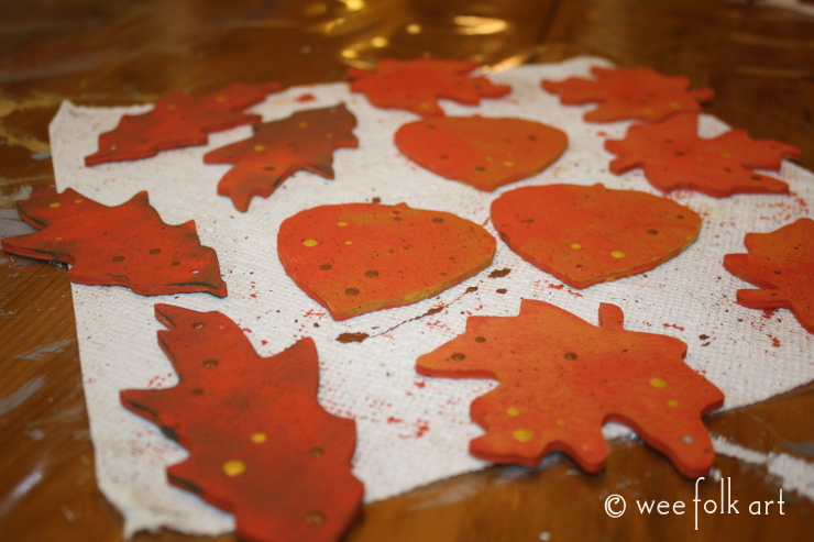 painted wooden leaves