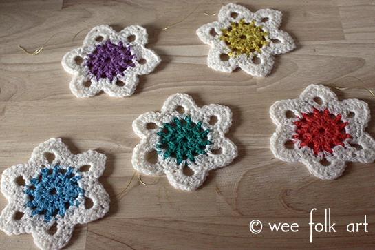 rainbow Crochet Snowflake Ornament