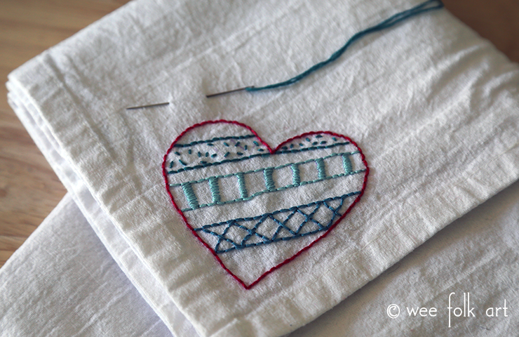 doodle heart embroidery pattern